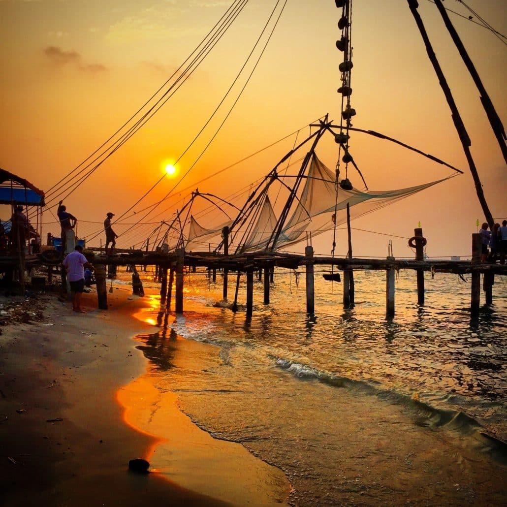 Chinese fishing nets in Kochi, Kerala