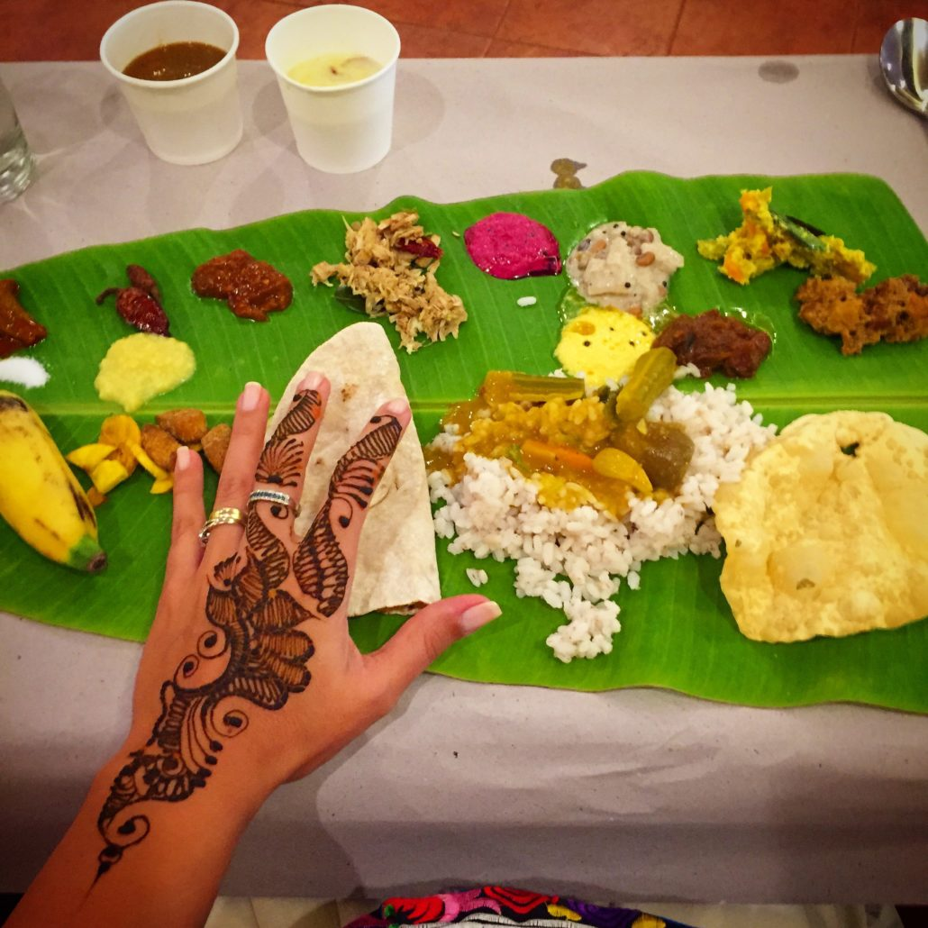 Kerala traditional dish called Sadya, served on a banana leaf