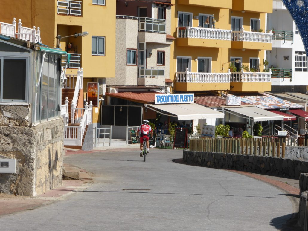 Bicycling along the sea wall is popular in Tenerife