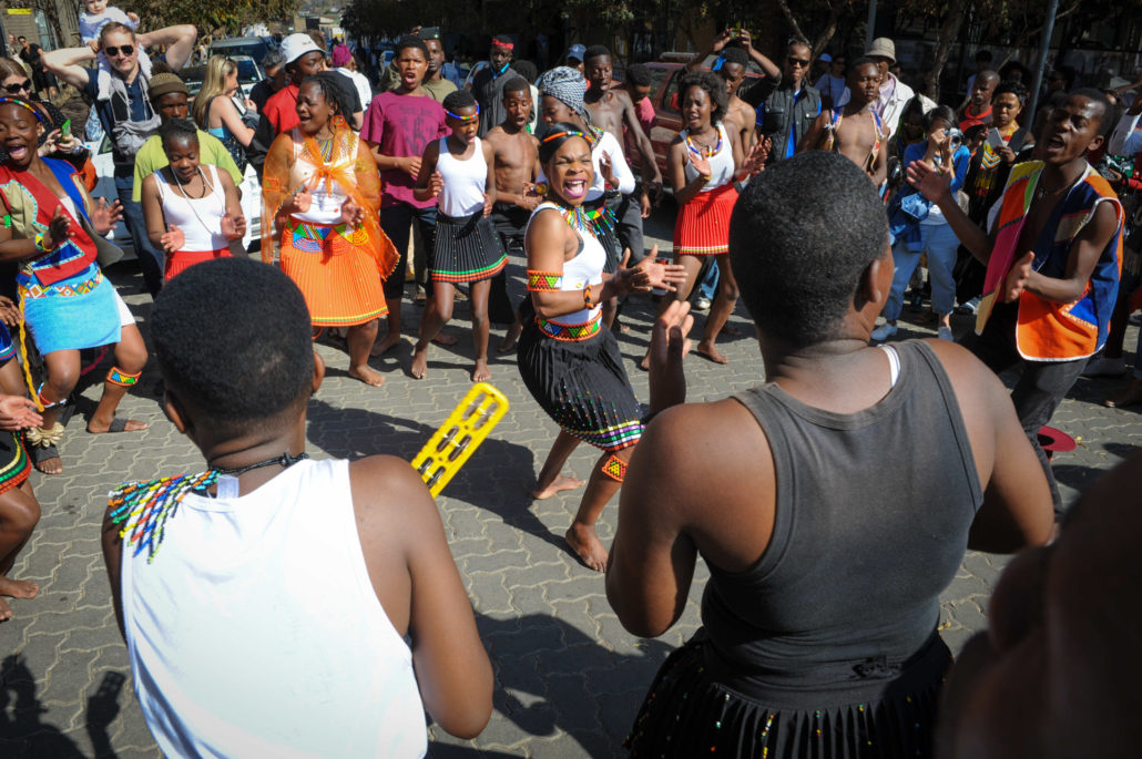 Street performers tell their story with song and dancing at Market on Main, Maboneng precinct