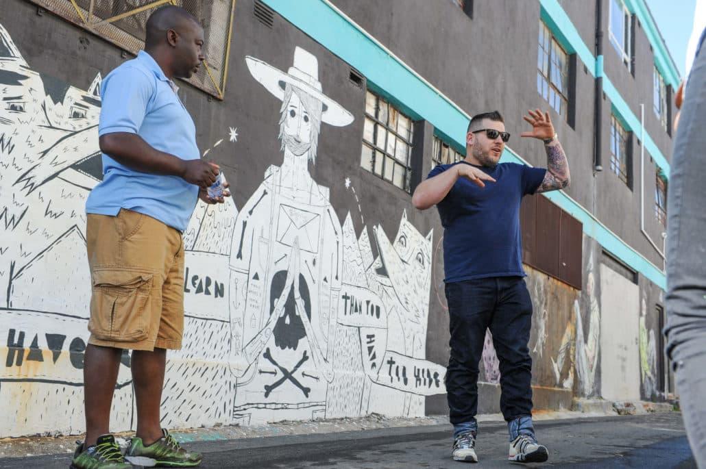 Street walking tour in the art district of Woodstock
