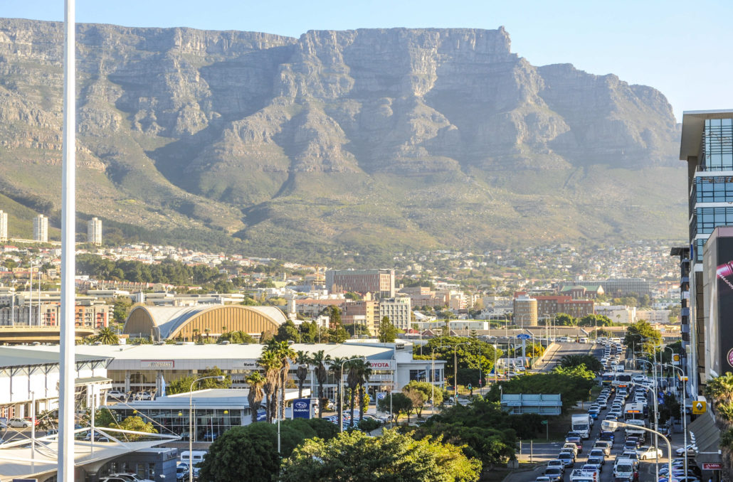 View of downtown Cape Town with Table Mountain in background