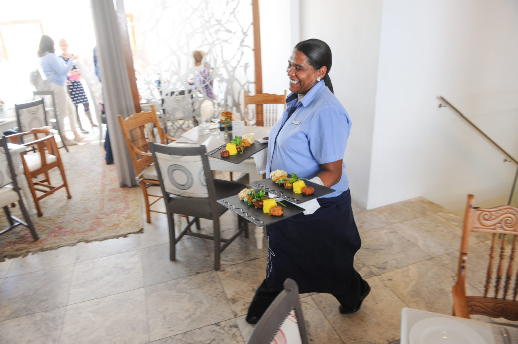 Lunch being served at the Oude Werf Hotel, Stellenbosch