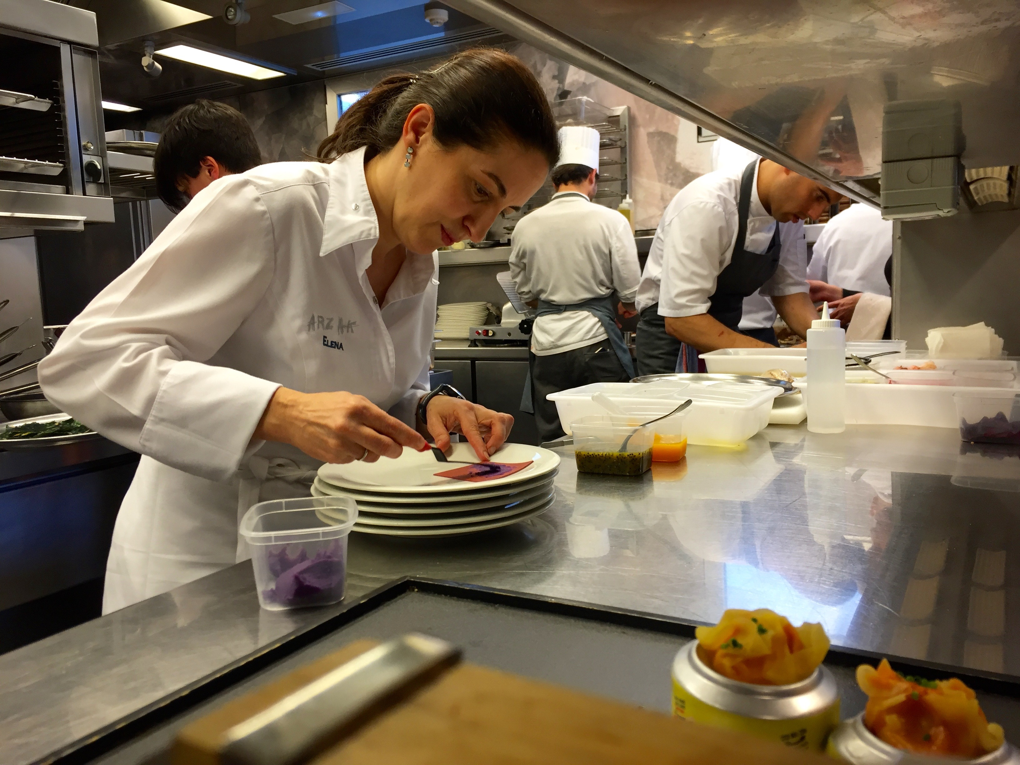 Elena Arzak in the kitchen at Arzak