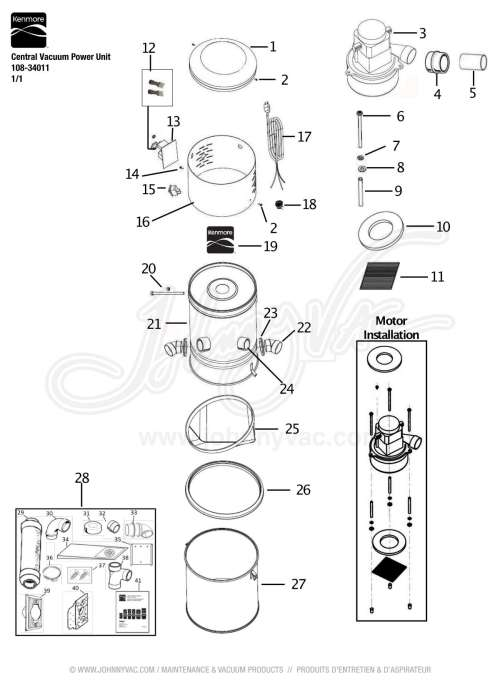 small resolution of vacuum schematic exploded view for kenmore central vacuum power unit 108 34011