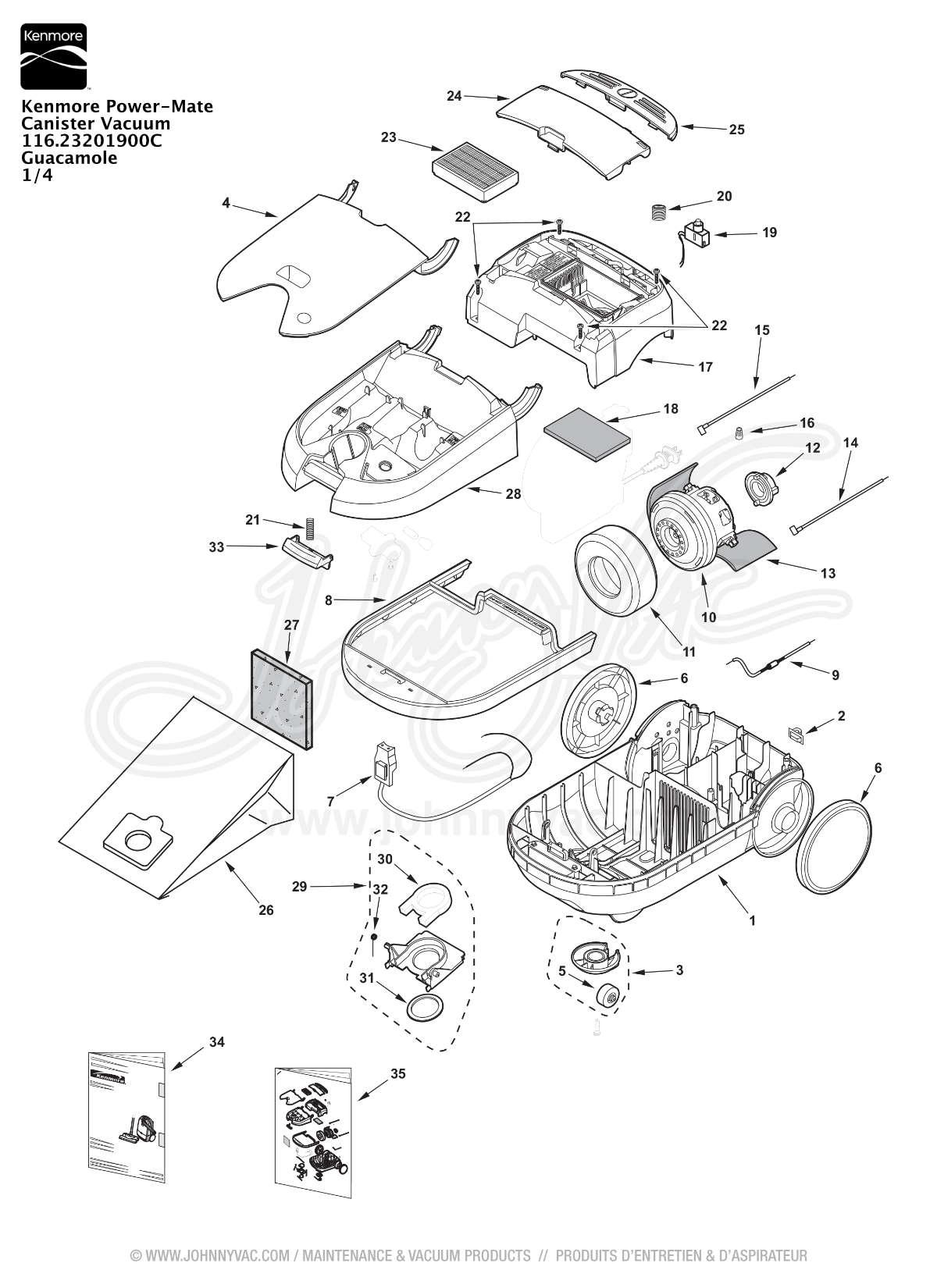 Kenmore Progressive Vacuum Parts Model 116 / Kenmore