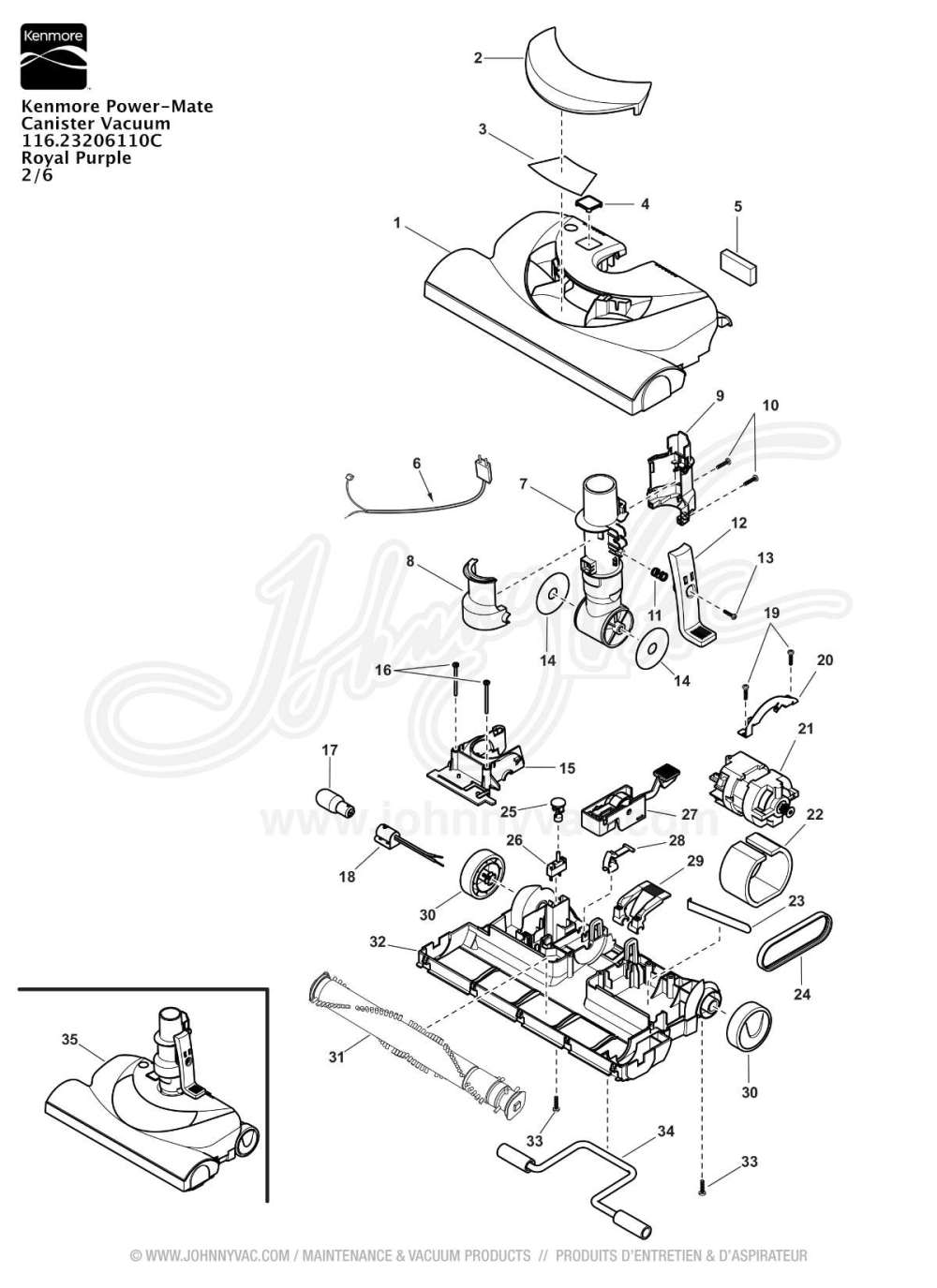 medium resolution of vacuum schematic exploded view for kenmore power mate canister vacuum 116 23206110c
