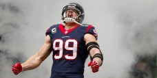 HOUSTON, TX - DECEMBER 22: J.J. Watt #99 of the Houston Texans enters the field before the game against the Denver Broncos at Reliant Stadium on December 22, 2013 in Houston, Texas. (Photo by Scott Halleran/Getty Images)