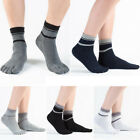 5 Pairs Men's Striped Five Fingers Toe Socks Cotton Breathable Sports Crew Socks