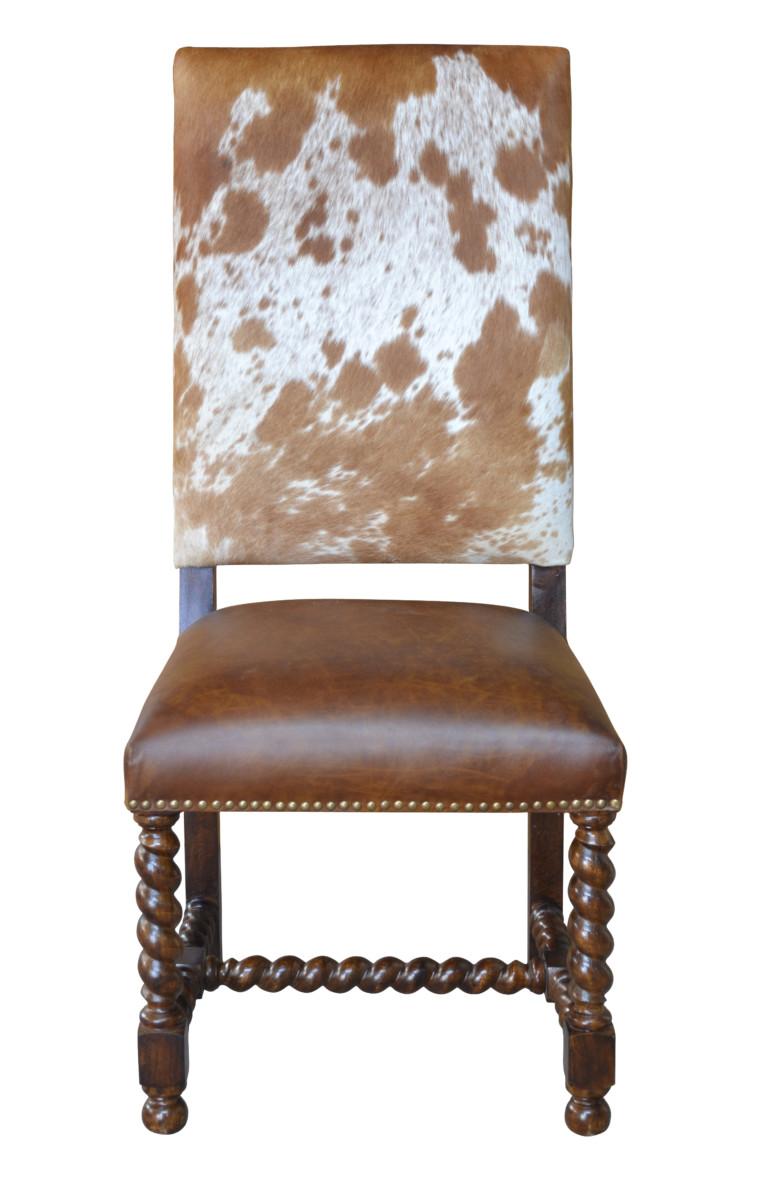 Barley Twist Cowhide Dining Chair