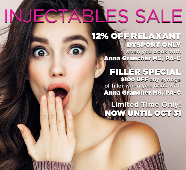 Injectables Sale! October Only!