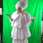 John filming as Lady Gaga against a greenscreen