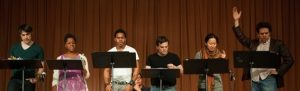 rehearsing a staged reading of Don't Go Gently