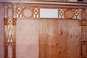Late 18thCentury Gothic chimney piece.
