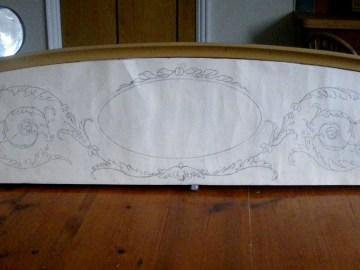 4-Poster Bed: Preliminary outline sketch for pelmet design