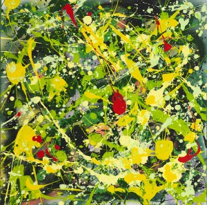 """No. 2251. Healing Exploration Series - Remembrances of Past Times: """"Mustard Field San Juan Island WA"""" $450. Original Mixed Acrylic on 24""""h x 24""""w Quality Stretched Canvas."""