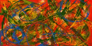"No. 2284.  ""Tropical Beaches""  Original Mixed Acrylic on 24""h x 48""w x 1.5"" Premium Quality Stretched Canvas"