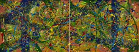 "No. 2285 & No. 2286.  ""Paradise Found"" as Diptych 36""h x 96""w. Original acrylic on two 36""h x 48""w x 1.5"" Premium Stretched Canvases. Sold only as a set."