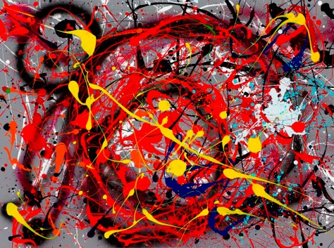 """No. 2246. Harvard GSD Series: """"Ode to Miro"""" $1,750. Original Mixed Acrylic on 30""""h x 40""""w Stretched Canvas."""