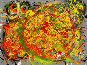"No. 2247.  ""Solar Plexus""  Original Mixed Acrylic on 30""h x 40""w Stretched Canvas: $3,400."