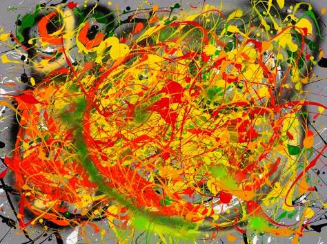 "No. 2247. Harvard GSD Series: ""Solar Plexus"" $1,750. Original Mixed Acrylic on 30""h x 40""w Stretched Canvas."