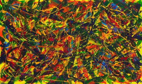 """No.2293. On the Path to Wellness Series - Sharing Love: """"Tutti Frutti"""". $4,250. Original Mixed Acrylic on 36""""h x 60""""w Premium Quality Stretched Canvas."""
