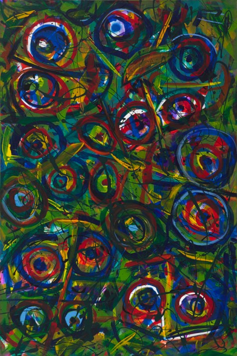 "No 2304. ""Koo Koo Birds"" or ""Reclining Diva with Entourage"" Original Mixed Acrylic on 60""h x 40""w x 1.5"" Blick Quality Stretched Canvas."