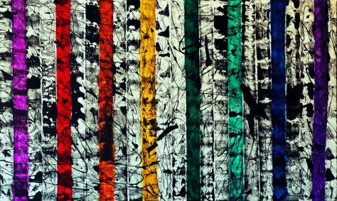 "No. 2322 ""Colorful Dialogs"" $4,750. Original Mixed Acrylic on Blick Premium Stretched canvas 36"" x 60"" x 1.5"""