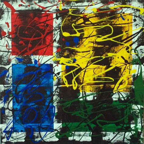 """No. 2346. Film Strip Series: """"Squares and Rectangles"""". $225. Original Mixed Acrylic on stretched canvas 16"""" x 16"""" x .5""""."""
