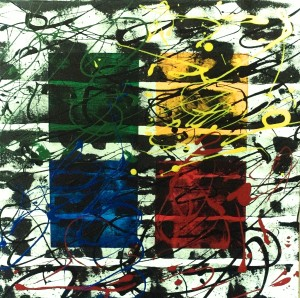 "No. 2345. Film Strip Series: ""Squares"". $225. Original Mixed Acrylic on stretched canvas 16"" x 16"" x .5""."