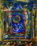 "No. 2360. ""Portal Doorways 2"" from the Kaleidoscopic Illusion Series. SOLD. Original mixed acrylic paint on 20"" x 16"" x .5"" stretched canvas. Giclee copies available as custom order."