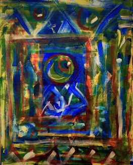 """No. 2360. """"Portal Doorways 2"""" from the Kaleidoscopic Illusion Series. SOLD. Original mixed acrylic paint on 20"""" x 16"""" x .5"""" stretched canvas. Giclee copies available as custom order."""
