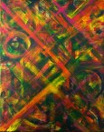 "No. 2361. ""Portal Doorways 3"" from the Kaleidoscopic Illusion Series. $450. Original mixed acrylic paint on 20"" x 16"" x .5"" stretched canvas."