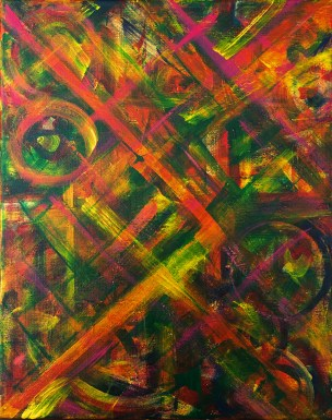"""No. 2361. """"Portal Doorways 3"""" from the Kaleidoscopic Illusion Series. $450. Original mixed acrylic paint on 20"""" x 16"""" x .5"""" stretched canvas."""