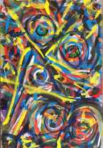 """No. 2372. From the artist's Going Home Series: """"Shimmering Angels 4"""" Available $3,000. Mixed Acrylic Painting on Quality 24"""" x 36"""" x 1.5"""" Stretched Canvas. Artist influences: Joan Miro and Karel Appel. San Diego 2018 