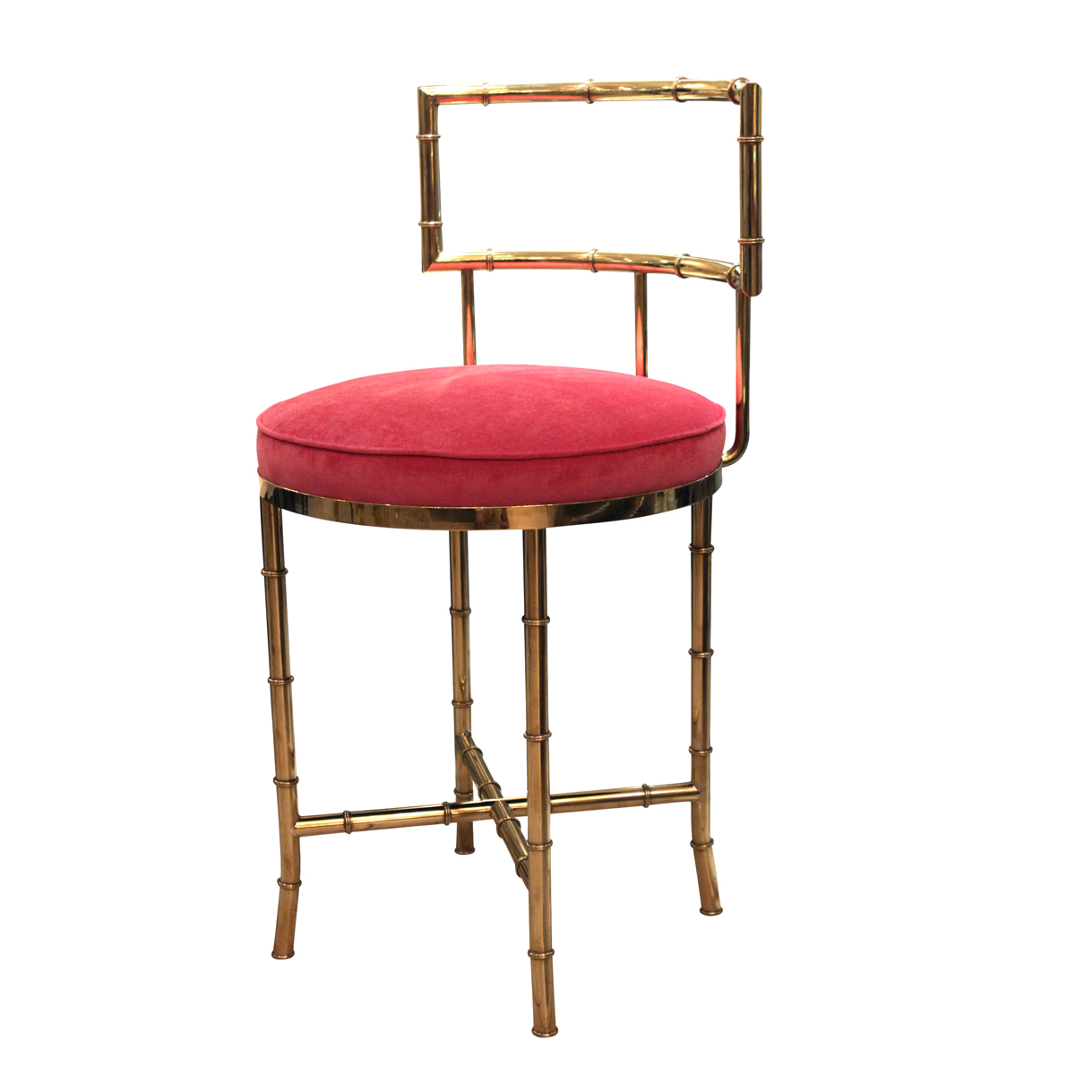 vanity chair with back junior desk faux bamboo brass high single