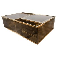 Rectangular brass and smoked glass coffee table | Coffee ...