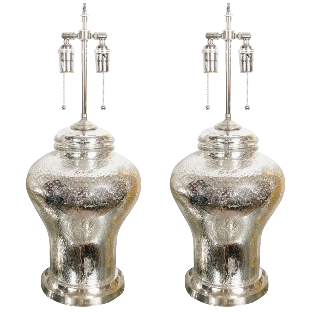 Pair of urn shaped mercury glass lamps  Table Lamps