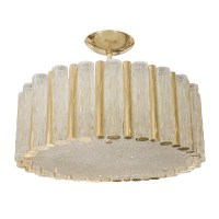 Large brass drum form pendant fixture with tubular glass ...