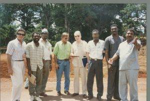 John with a road construction crew in Cameroon