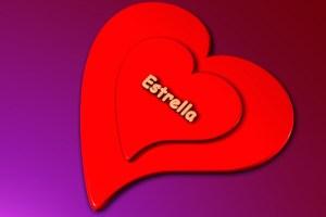 Estrella - der Vorname auf rotem Herz/Heart in 3D.