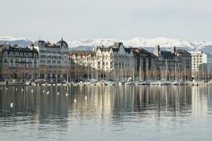 View of the city and Lake Geneva, Switzerland