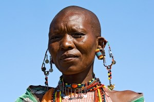 Portrait of a Maasai woman with traditional jewelry.