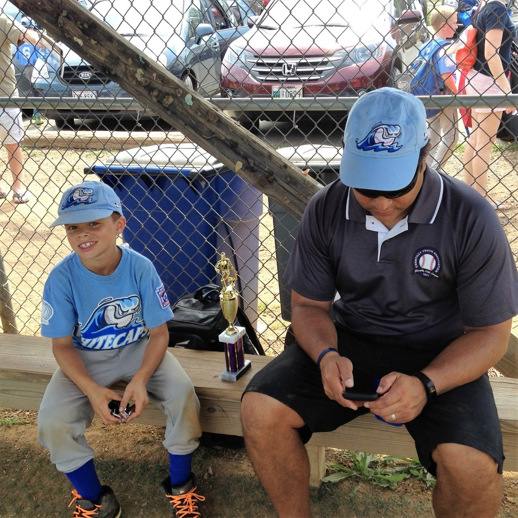 PJ Baseball happy with Dad