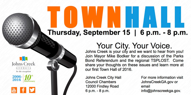 Mayor host Town Hall Sept 15th 6-8pm