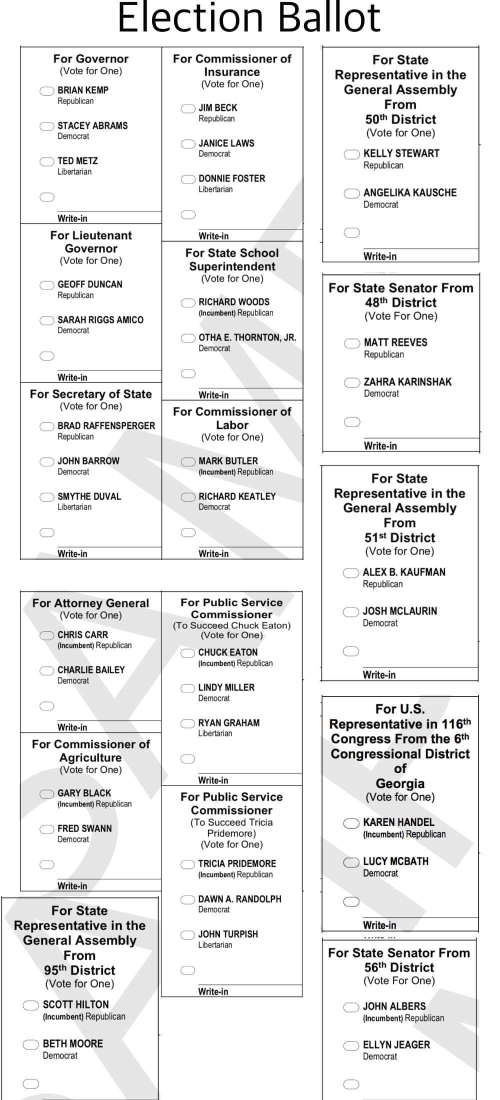 Fulton County general election ballot 2018
