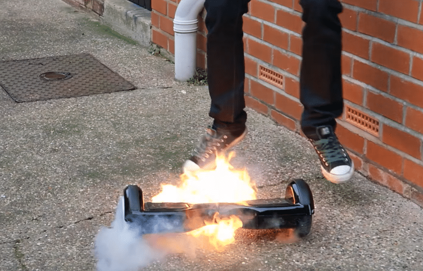 Hoverboard catches on fire