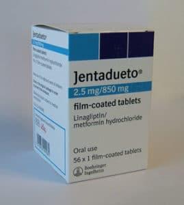 2.5 mg Jentadueto Tablets in box.