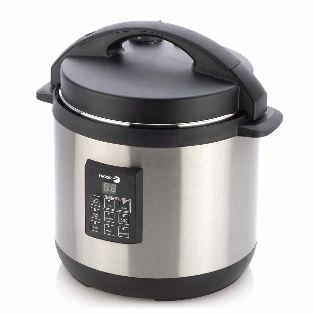 Stainless steel and black Fagor pressure cooker