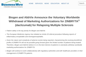 Biogen and AbbVie Announce the Voluntary Worldwide Withdrawal of Marketing Authorizations for ZINBRYTA® (daclizumab) for Relapsing Multiple Sclerosis